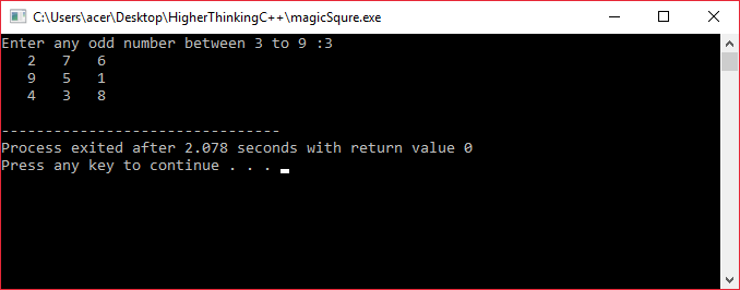 C++ program to generate magic square
