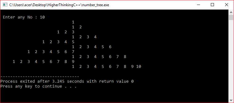 C++ program to generate number tree