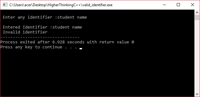 C/C++ program to check validity of given identifier