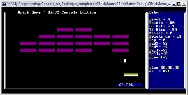 Brick Game C++ project with output